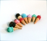 polymer, ice cream, clay, glace, cornet, fruits sucre, magou, bijoux, jewels, fimo, miniature, food, summer, été, printemps, couleurs, colorful
